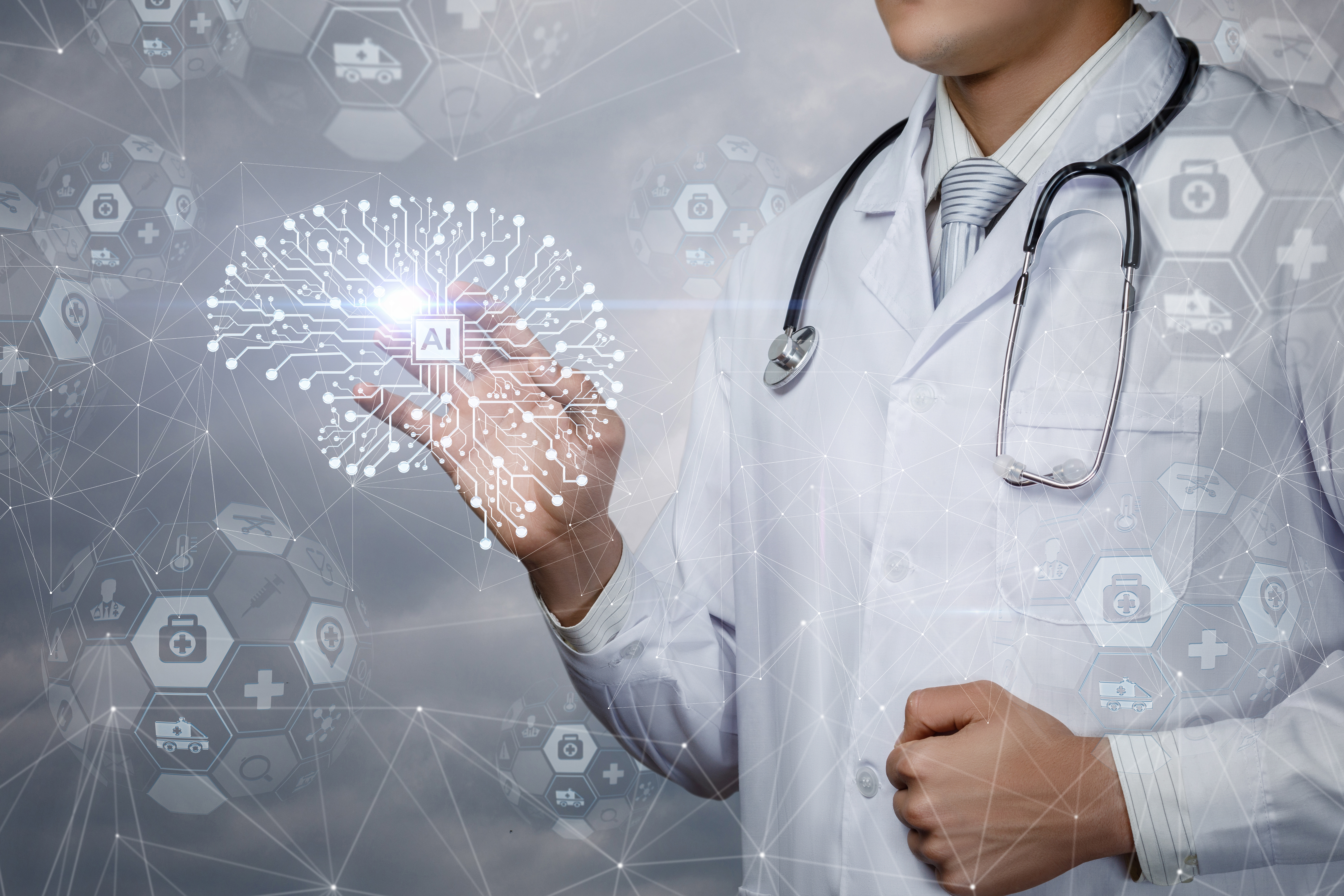 doctor reviewing healthcare analytics
